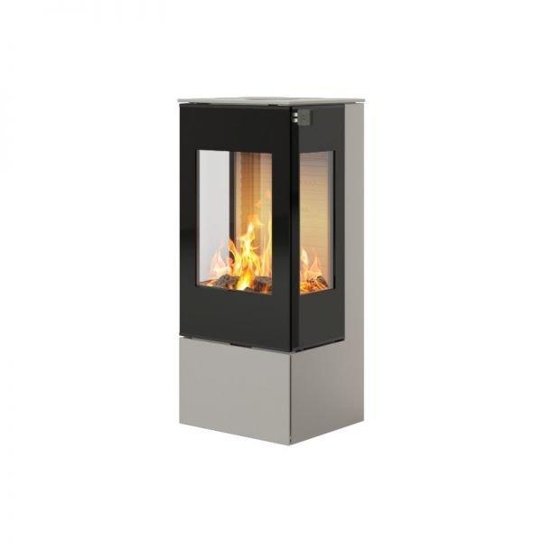 Печь-камин RAIS Nexo 100 в цвете со стеклянной дверцей и боковыми стеклами