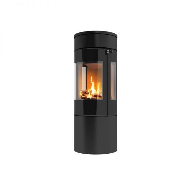 Печь-камин RAIS Viva L 120 черная со стеклянной дверцей