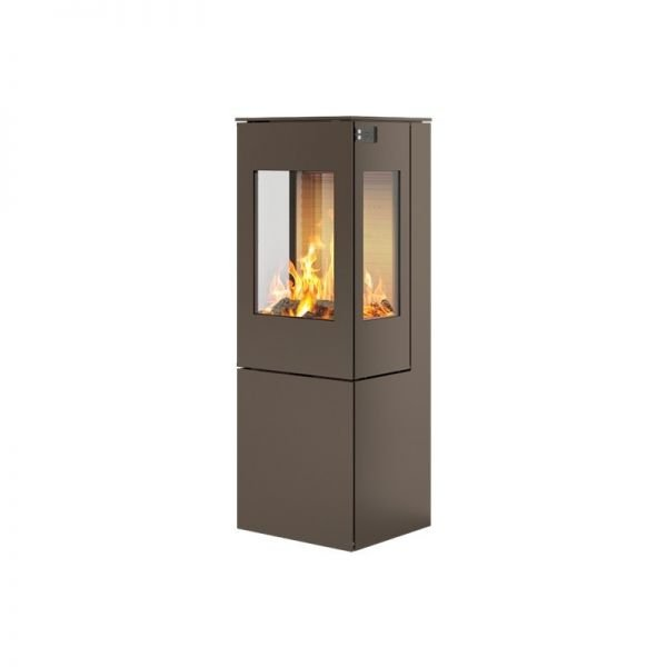 Печь-камин RAIS Nexo 120 в цвете со стальной дверцей и боковыми стеклами