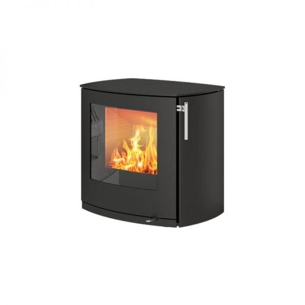 Печь-камин Rais Q-Tee 2C чёрная со стальной дверцей