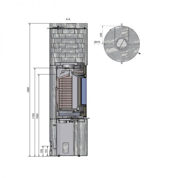 Печь-камин RAIS Juno Soapstone 120 со стальной дверцей без боковых стекол