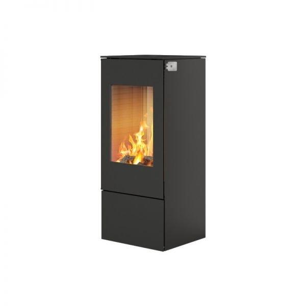 Печь-камин RAIS Nexo 100 черная со стальной дверцей