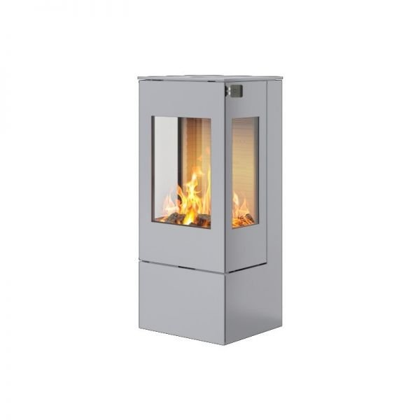 Печь-камин RAIS Nexo 100 в цвете со стальной дверцей и боковыми стеклами