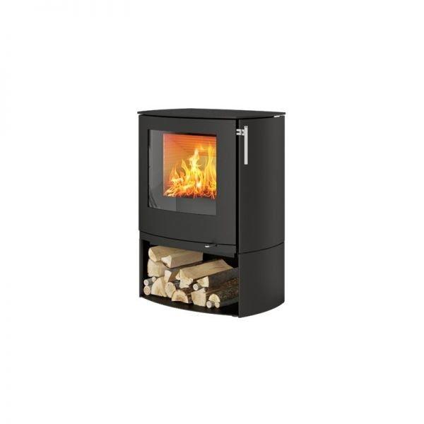 Печь-камин Rais Q-Tee 2C чёрная со стальной дверцей и основанием