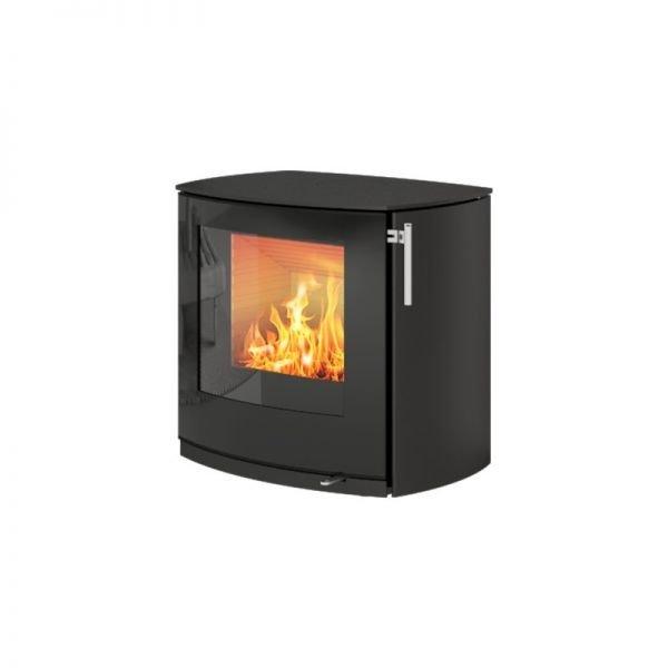 Печь-камин Rais Q-Tee 2C чёрная со стеклянной дверцей