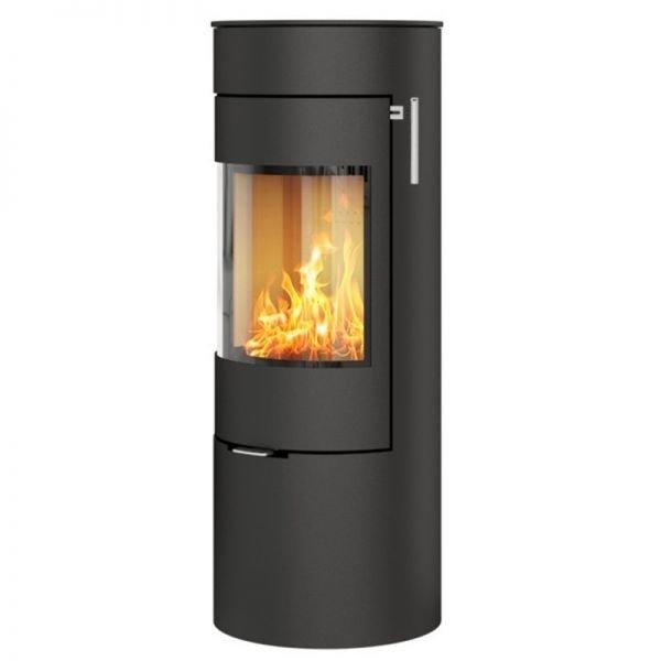 Печь-камин RAIS Viva L 120 черная со стальной дверцей
