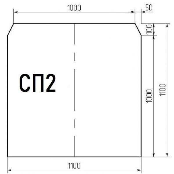 Стекло напольное СП2 (под печь) 1100*1100мм