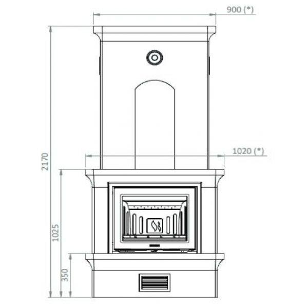 Печь-камин K20, SK 2002, прист., заднее подключ. (Keddy)