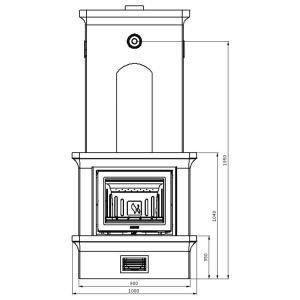 Печь-камин K21, SK 2002, угл., заднее подключ. (Keddy)