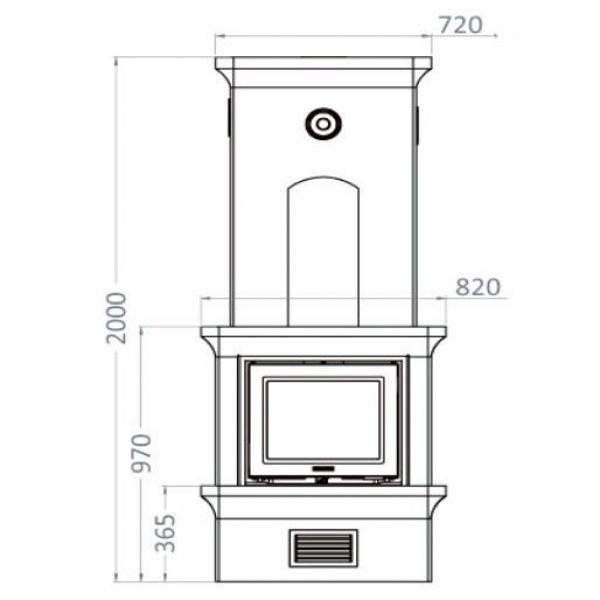 Печь-камин K10, SK 1002, прист., верхнее подключ. (Keddy)