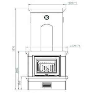 Печь-камин K20, SK 2001, прист., верхнее подключ. (Keddy)