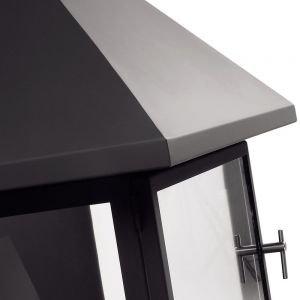 Камин Vulcano, со стеклом, полка-сталь, черный (Traforart)