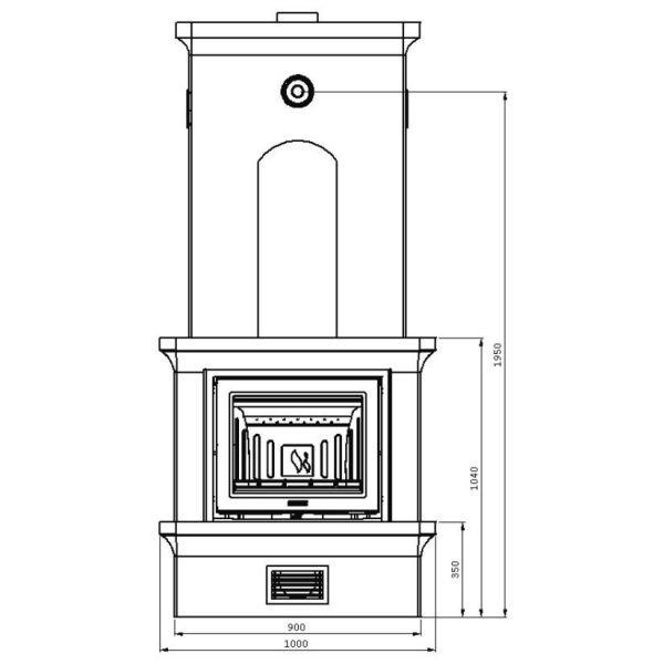 Печь-камин K21, SK 2001, угл., заднее подключ. (Keddy)