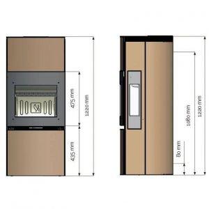 Печь K1120, черный глянец + бок.стекла + декор стекла (Keddy)