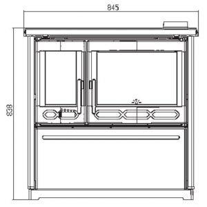 Плита PLAMEN 850 GLAS, белая, труба слева (Plamen)