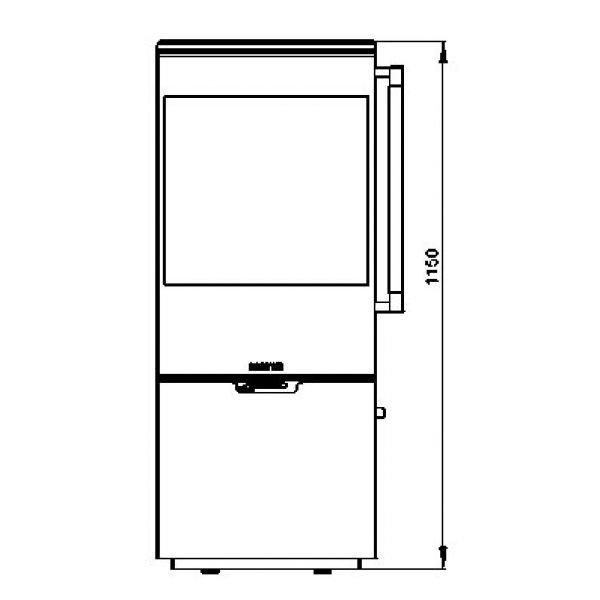Печь K900, низкая, черная, хромированная окантовка стекла (Keddy)