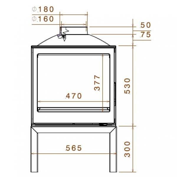 Печь LCI 5 GDF BG Stove, двусторонняя, черное стекло (Liseo Castiron)