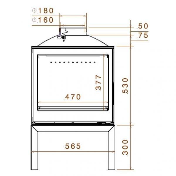 Печь LCI 5 GFLR Stove, два боковых стекла (Liseo Castiron)