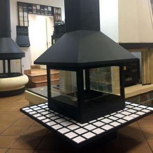 Камин VULCANO, со стеклом, полка - керамика белая, черный (Traforart)