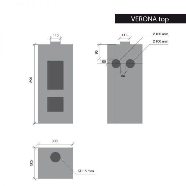 Печь Verona Top, черная (Thorma)