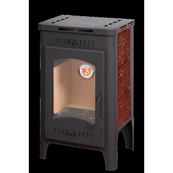 Печь-камин БАВАРИЯ ОПТИМА изразцовая барокко коричневая