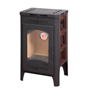 Печь-камин БАВАРИЯ ОПТИМА изразцовая арка коричневая с вентиляцией