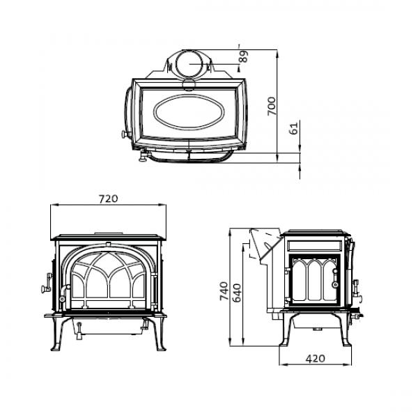 Jotul F 500.2 SE BBE чугунная печь-камин, 9 кВт