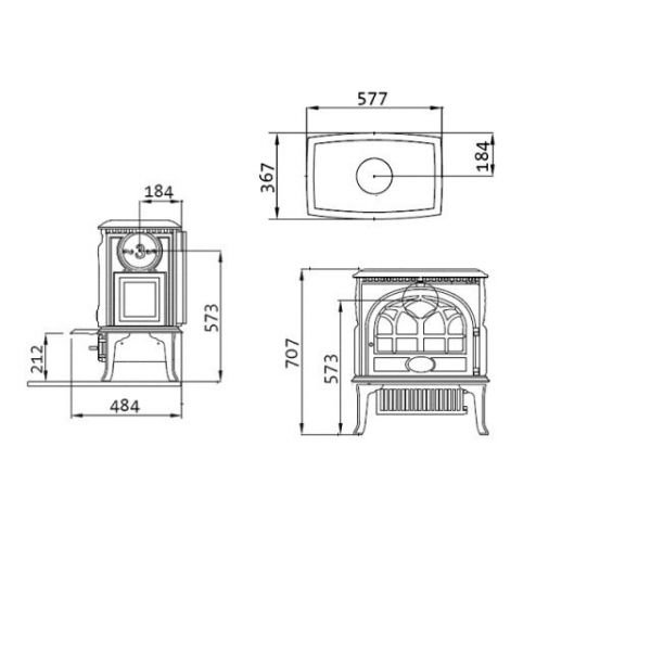 Jotul F 3 BP чугунная печь-камин, 10 кВт