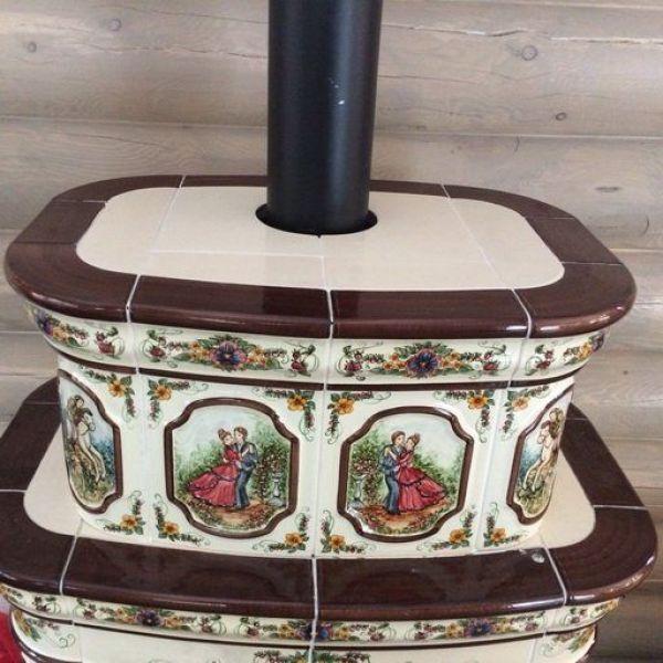 Изразцовая печь КимрПечь Сконе пристенный-двухъярусный художественный