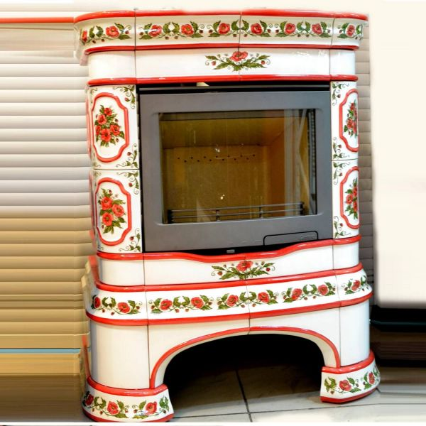 Изразцовая печь КимрПечь Сконе пристенный роспись