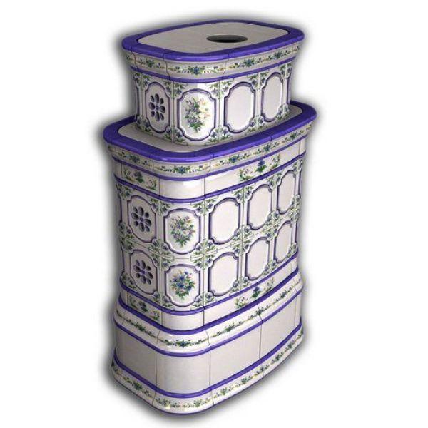 Изразцовая печь КимрПечь Сконе центральный-двухъярусный роспись
