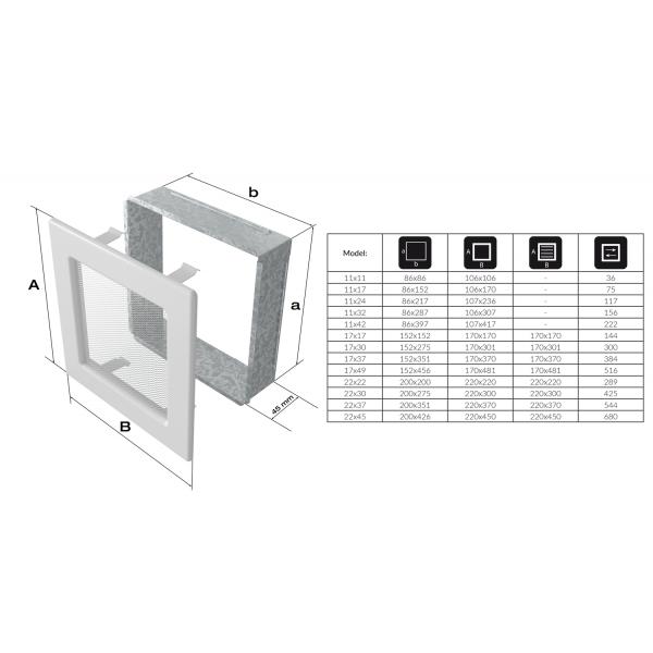Вентиляционная решетка Графит с задвижкой (17*37) 37GX