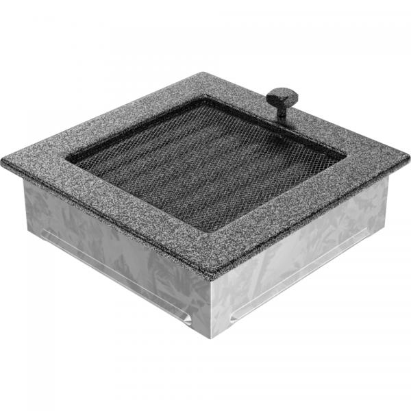 Вентиляционная решетка Черная/Серебро с задвижкой (17*17) 17CSX