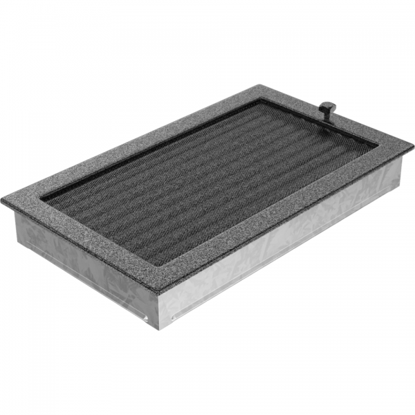 Вентиляционная решетка Черная/Серебро с задвижкой (22*37) 22/37CSX