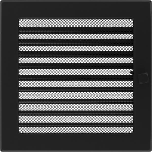 Вентиляционная решетка Черная с задвижкой (22*22) 22CX