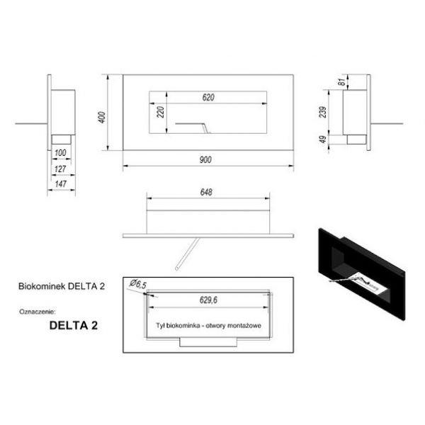 Биокамин DELTA 2 HORIZONTAL (400*900) (Kratki)