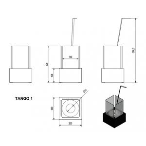 Настольный биокамин Kratki TANGO 1 черный