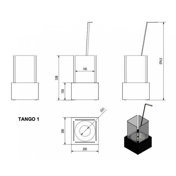 Биокамин TANGO 1, биотопливом(1шт.х1.5л.), зажигалкой (Kratki)