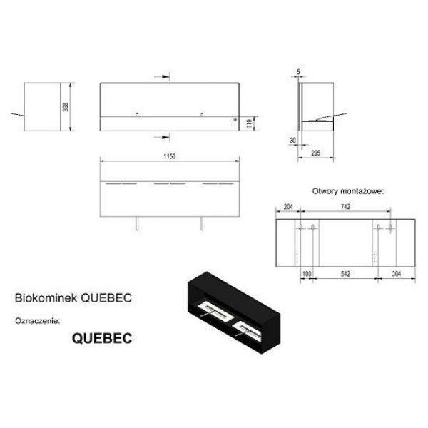 Биокамин Kratki QUEBEC (1150x398), TUV