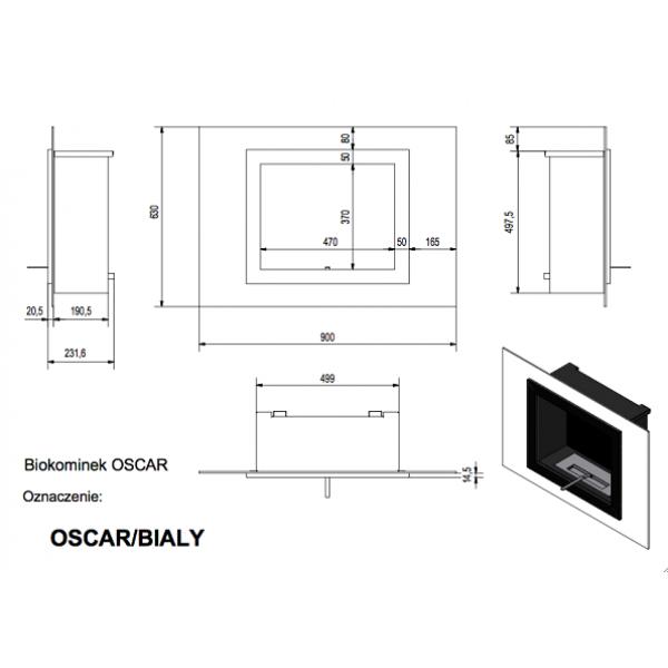 Биокамин OSCAR TUV белый, черный (Kratki)