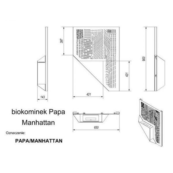 Биокамин PAPA MANHATTAN, TUV (Kratki)