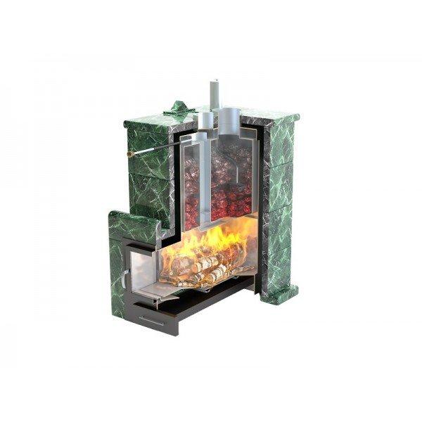 Банная печь ИзиСтим Анапа М2 в полноценном кожухе с открытым верхом из змеевика