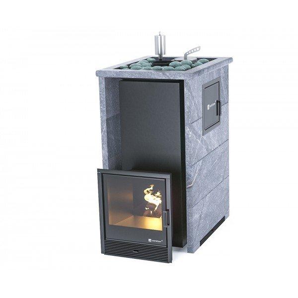 Банная печь ИзиСтим Геленджик М2 в трехстороннем кожухе с открытым верхом из талькохлорита