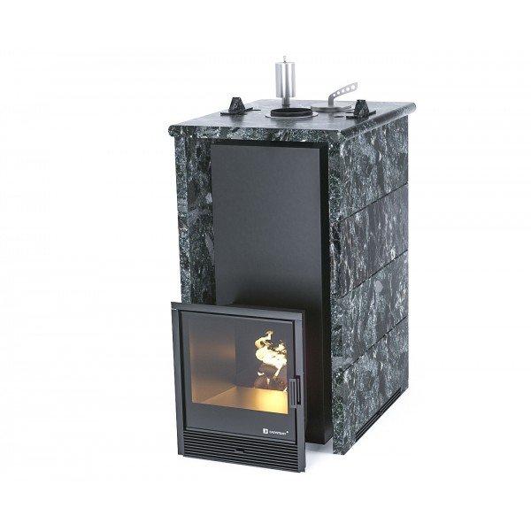 Банная печь ИзиСтим Геленджик в трехстороннем кожухе из пироксенита