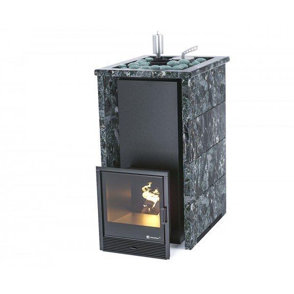 Банная печь ИзиСтим Геленджик в трехстороннем кожухе с открытым верхом из пироксенита