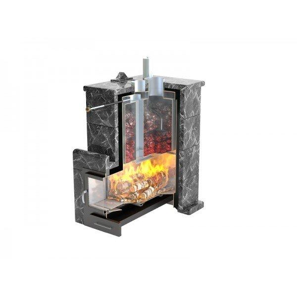 Банная печь ИзиСтим Сочи М2 в трехстороннем кожухе из талькохлорита