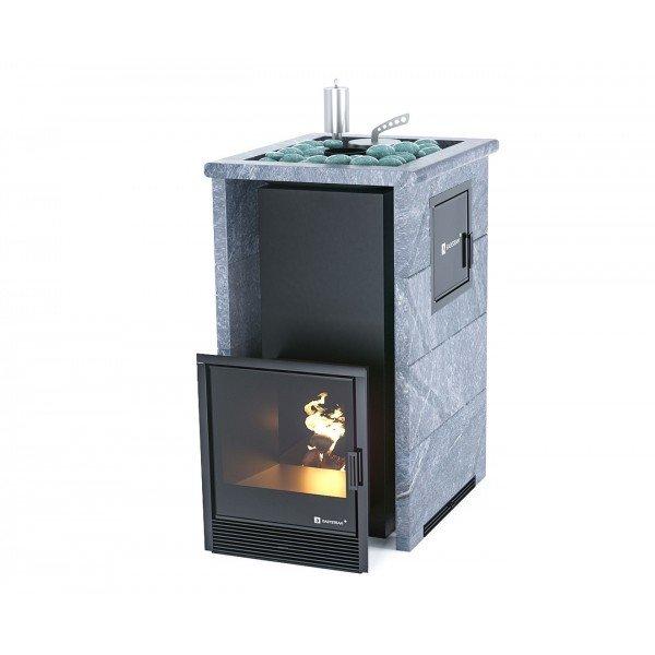 Банная печь ИзиСтим Сочи М2 в трехстороннем кожухе с открытым верхом из талькохлорита