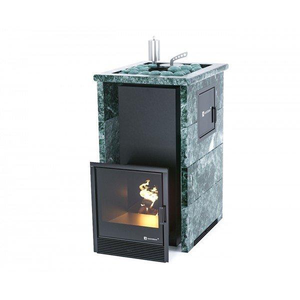 Банная печь ИзиСтим Сочи М2 в трехстороннем кожухе с открытым верхом из змеевика