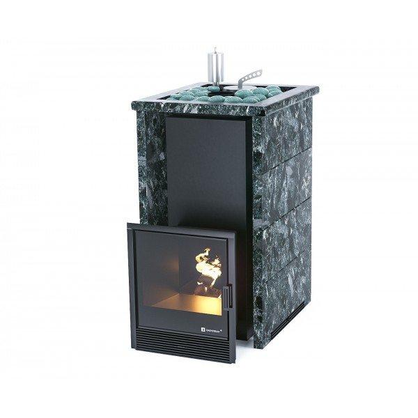 Банная печь ИзиСтим Сочи в трехстороннем кожухе с открытым верхом из пироксенита