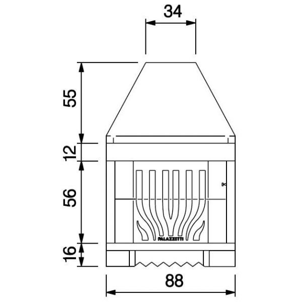 Каминная топка PALEX C78 ghisa, refractory (Palazzetti)